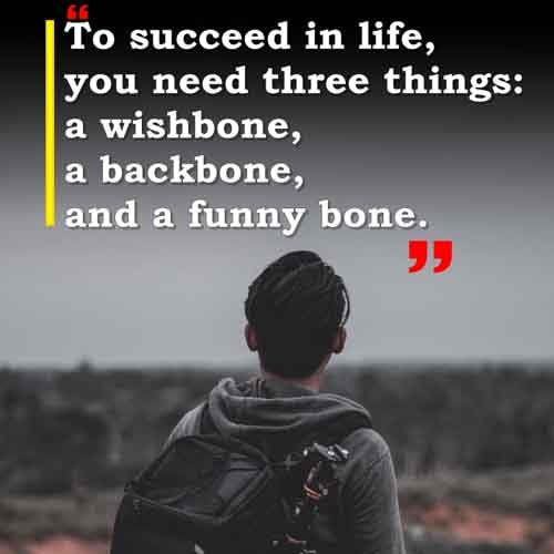 To succeed in life, you need three things: a wishbone, a backbone, and a funny bone.